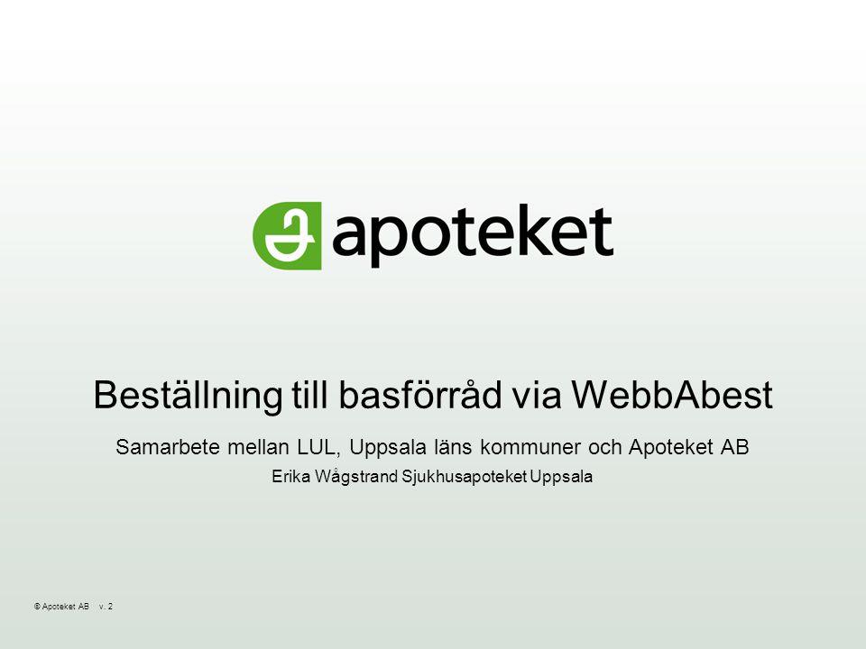 © Apoteket AB v.2 Beställning av basförråd via WebbAbest Varför.