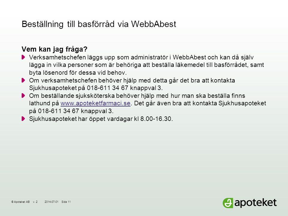 © Apoteket AB v.22014-07-01Sida 11 Beställning till basförråd via WebbAbest Vem kan jag fråga.