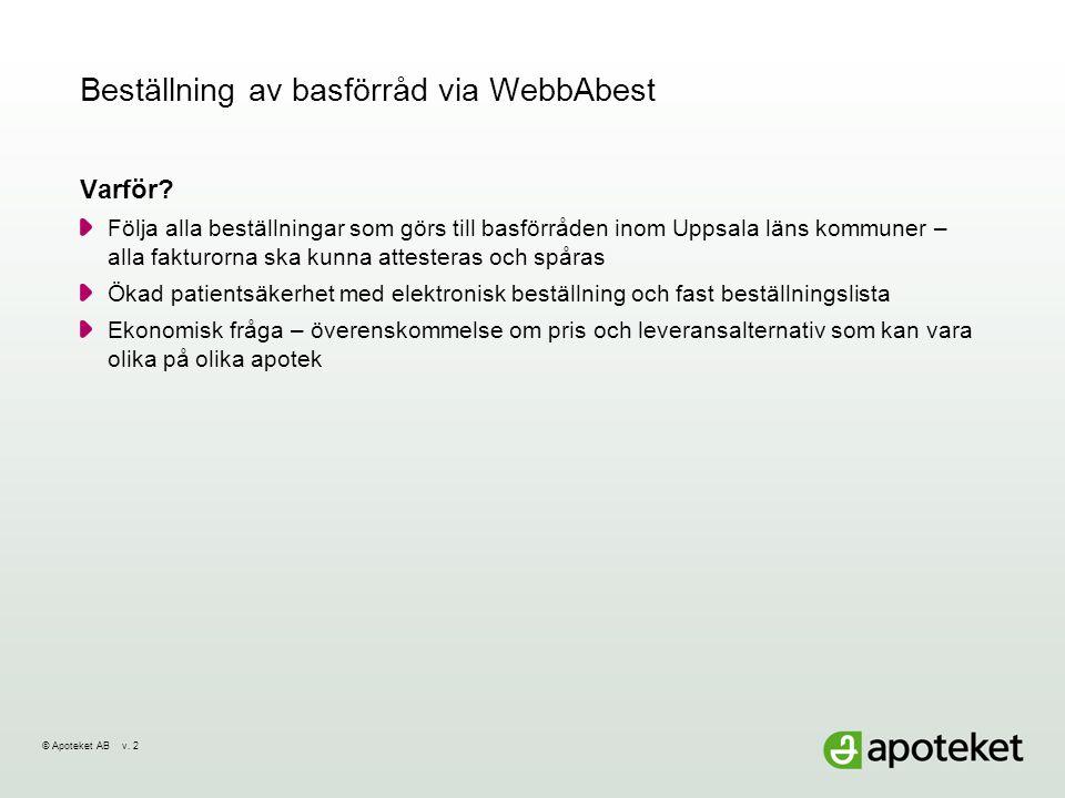 © Apoteket AB v.22014-07-01Sida 3 Beställning till basförråd via WebbAbest Hur kommer vi igång.