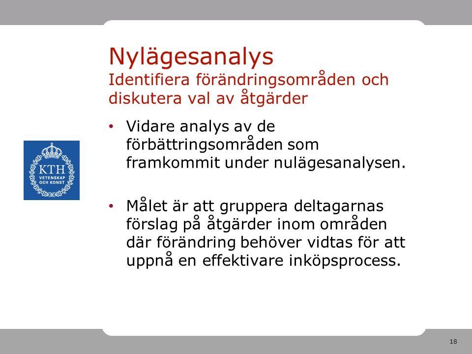 18 • Vidare analys av de förbättringsområden som framkommit under nulägesanalysen. • Målet är att gruppera deltagarnas förslag på åtgärder inom område