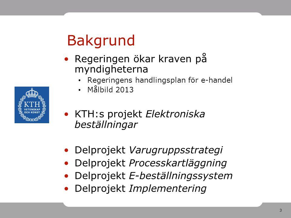 3 Bakgrund •Regeringen ökar kraven på myndigheterna • Regeringens handlingsplan för e-handel • Målbild 2013 •KTH:s projekt Elektroniska beställningar
