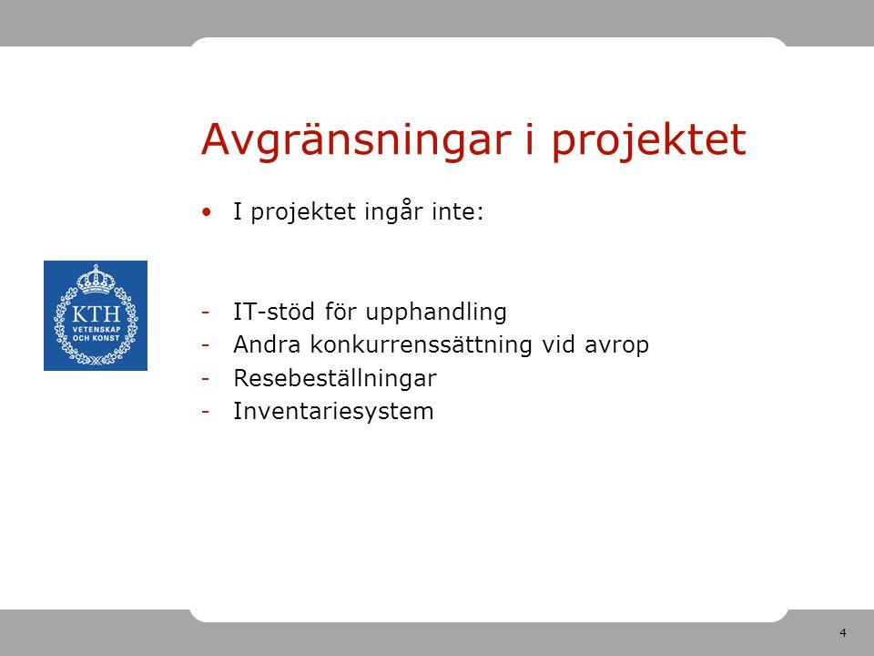 4 Avgränsningar i projektet •I projektet ingår inte: -IT-stöd för upphandling -Andra konkurrenssättning vid avrop -Resebeställningar -Inventariesystem
