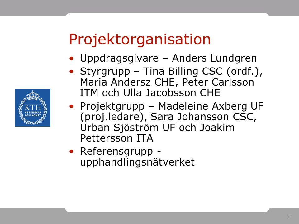 5 Projektorganisation •Uppdragsgivare – Anders Lundgren •Styrgrupp – Tina Billing CSC (ordf.), Maria Andersz CHE, Peter Carlsson ITM och Ulla Jacobsso