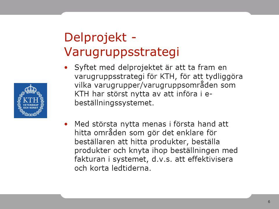 6 Delprojekt - Varugruppsstrategi •Syftet med delprojektet är att ta fram en varugruppsstrategi för KTH, för att tydliggöra vilka varugrupper/varugrup
