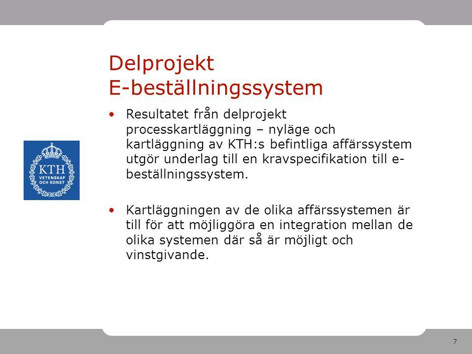 7 Delprojekt E-beställningssystem •Resultatet från delprojekt processkartläggning – nyläge och kartläggning av KTH:s befintliga affärssystem utgör und