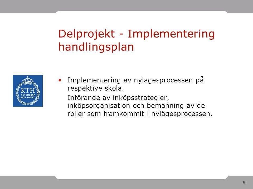8 Delprojekt - Implementering handlingsplan •Implementering av nylägesprocessen på respektive skola. Införande av inköpsstrategier, inköpsorganisation