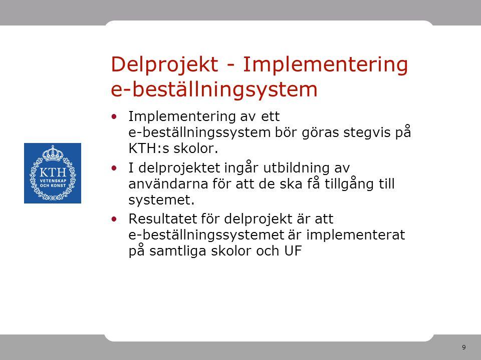 9 Delprojekt - Implementering e-beställningsystem •Implementering av ett e-beställningssystem bör göras stegvis på KTH:s skolor. •I delprojektet ingår