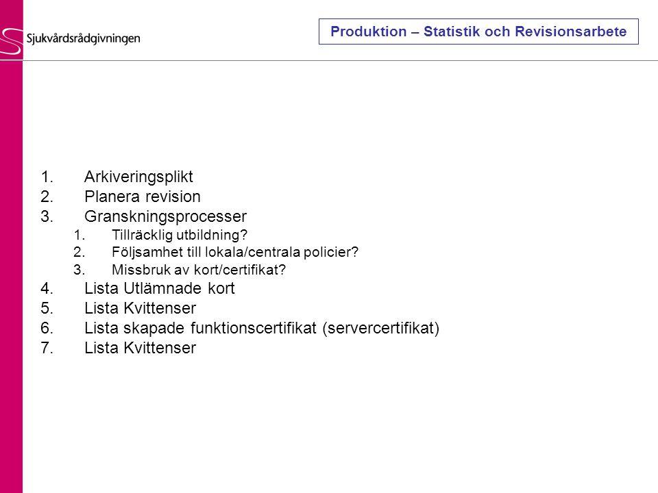 Produktion – Statistik och Revisionsarbete 1.Arkiveringsplikt 2.Planera revision 3.Granskningsprocesser 1.Tillräcklig utbildning? 2.Följsamhet till lo
