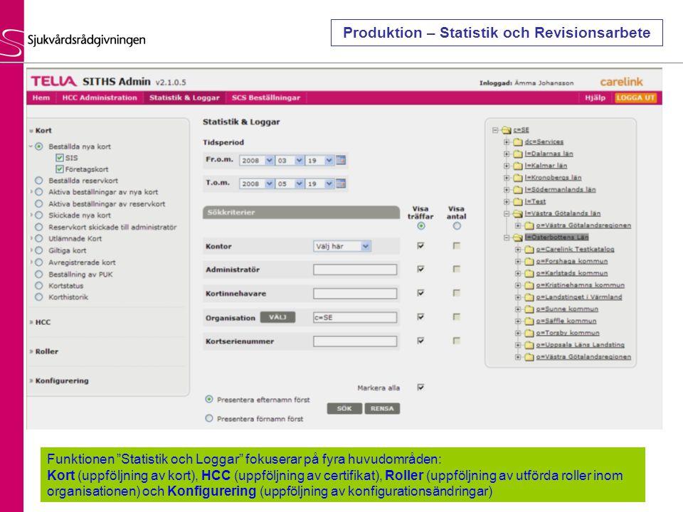 Funktionen Statistik och Loggar fokuserar på fyra huvudområden: Kort (uppföljning av kort), HCC (uppföljning av certifikat), Roller (uppföljning av utförda roller inom organisationen) och Konfigurering (uppföljning av konfigurationsändringar) Produktion – Statistik och Revisionsarbete