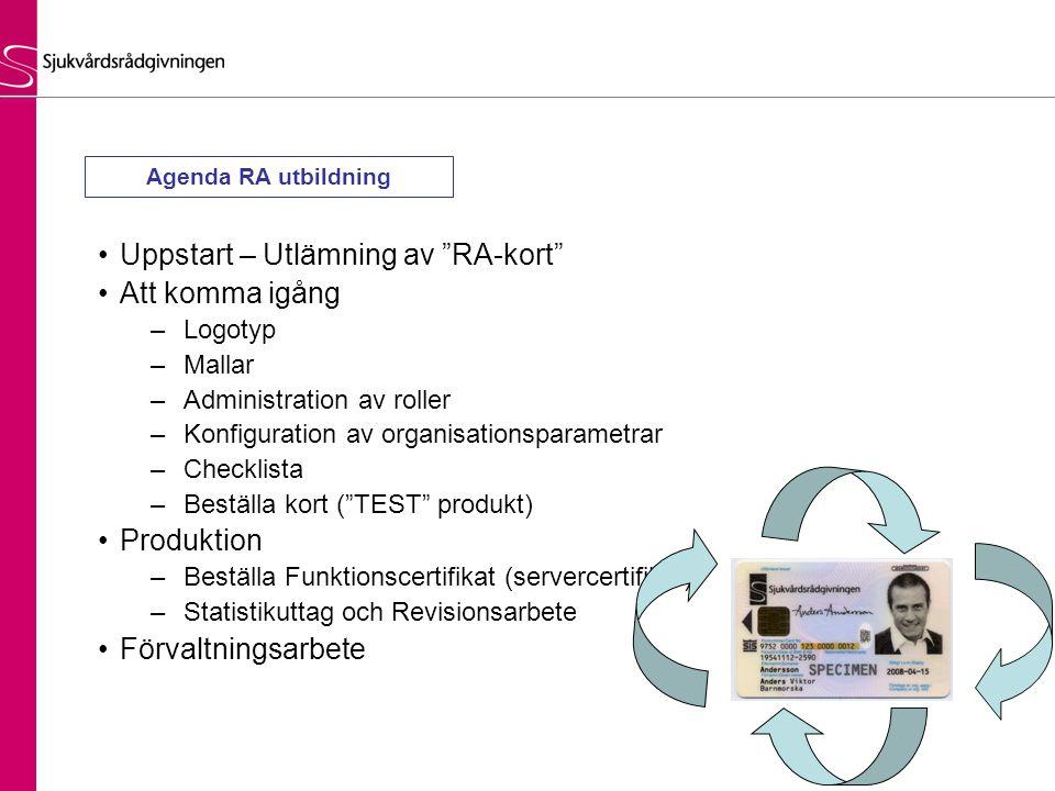 """•Uppstart – Utlämning av """"RA-kort"""" •Att komma igång –Logotyp –Mallar –Administration av roller –Konfiguration av organisationsparametrar –Checklista –"""