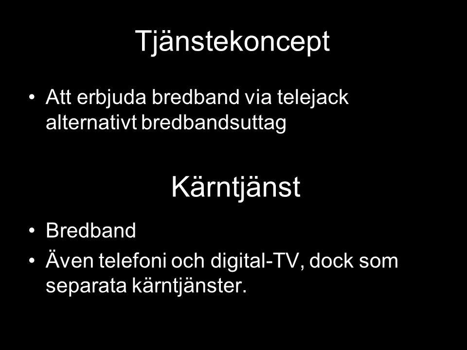 Tjänstekoncept •Att erbjuda bredband via telejack alternativt bredbandsuttag Kärntjänst •Bredband •Även telefoni och digital-TV, dock som separata kärntjänster.