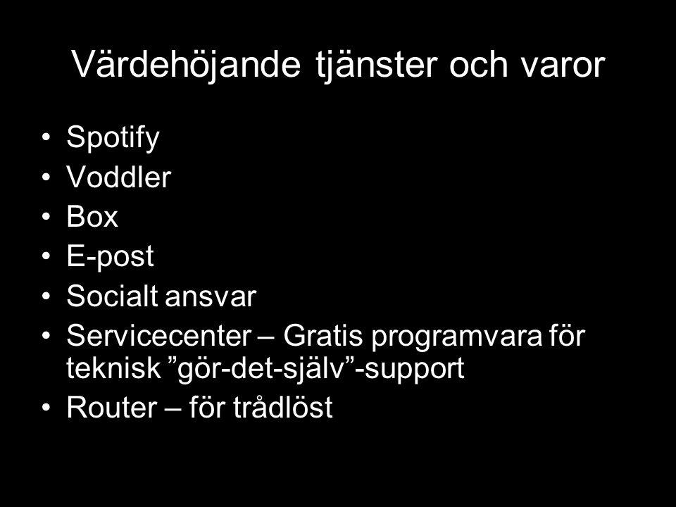 Värdehöjande tjänster och varor •Spotify •Voddler •Box •E-post •Socialt ansvar •Servicecenter – Gratis programvara för teknisk gör-det-själv -support •Router – för trådlöst