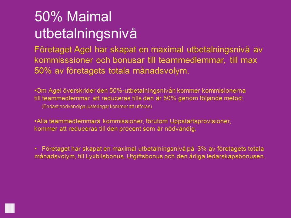50% Maimal utbetalningsnivå Företaget Agel har skapat en maximal utbetalningsnivå av kommisssioner och bonusar till teammedlemmar, till max 50% av för