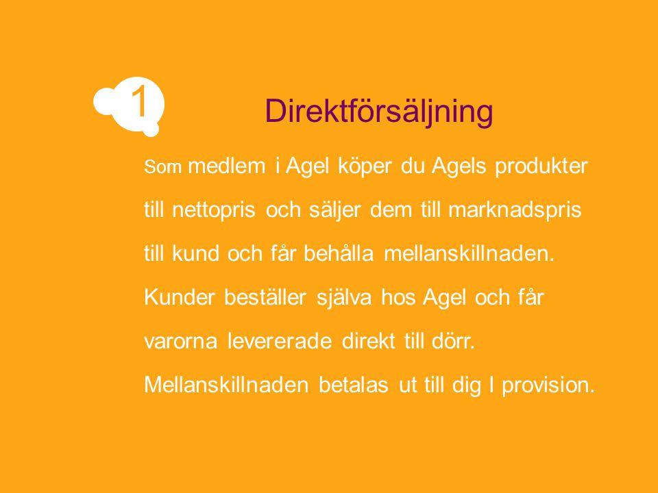Som medlem i Agel köper du Agels produkter till nettopris och säljer dem till marknadspris till kund och får behålla mellanskillnaden. Kunder beställe