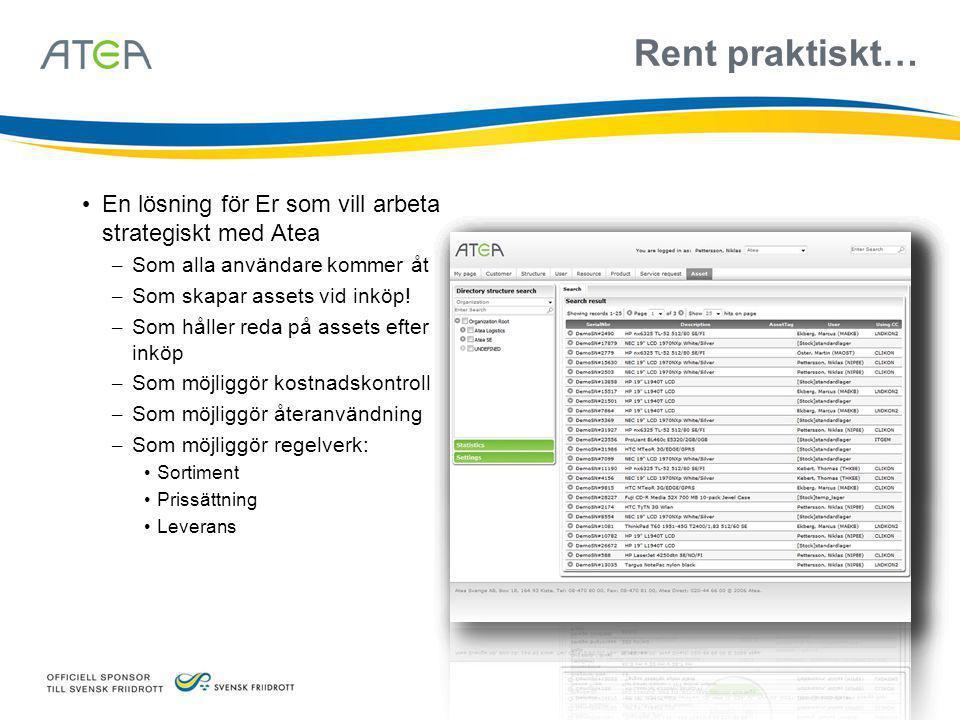 Rent praktiskt… • En lösning för Er som vill arbeta strategiskt med Atea – Som alla användare kommer åt – Som skapar assets vid inköp! – Som håller re