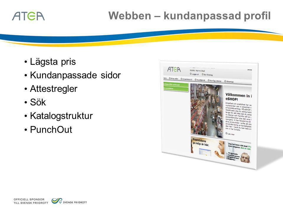 Webben – kundanpassad profil • Lägsta pris • Kundanpassade sidor • Attestregler • Sök • Katalogstruktur • PunchOut