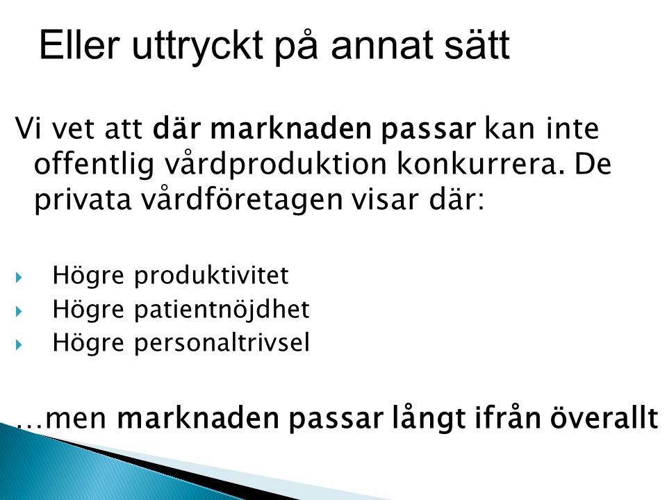 Vi vet att där marknaden passar kan inte offentlig vårdproduktion konkurrera.
