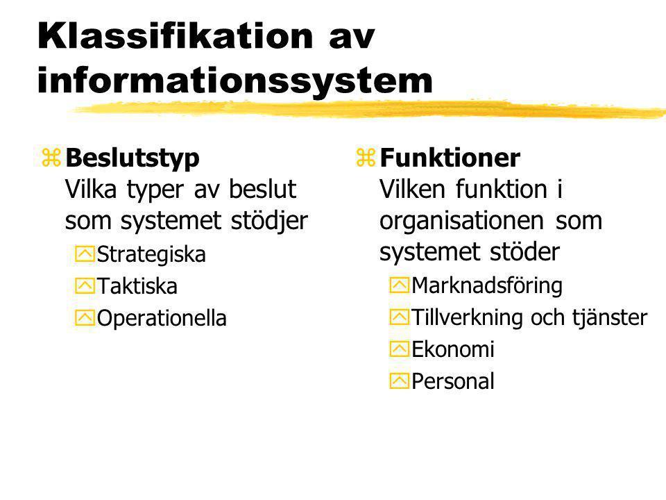 Klassifikation av informationssystem zBeslutstyp Vilka typer av beslut som systemet stödjer yStrategiska yTaktiska yOperationella z Funktioner Vilken funktion i organisationen som systemet stöder yMarknadsföring yTillverkning och tjänster yEkonomi yPersonal