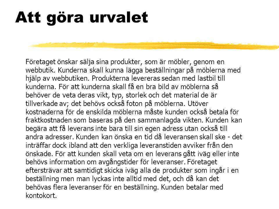 BESTÄLLNING KUND PRODUKT BESTÄLLNINGS- RAD LEVERANS