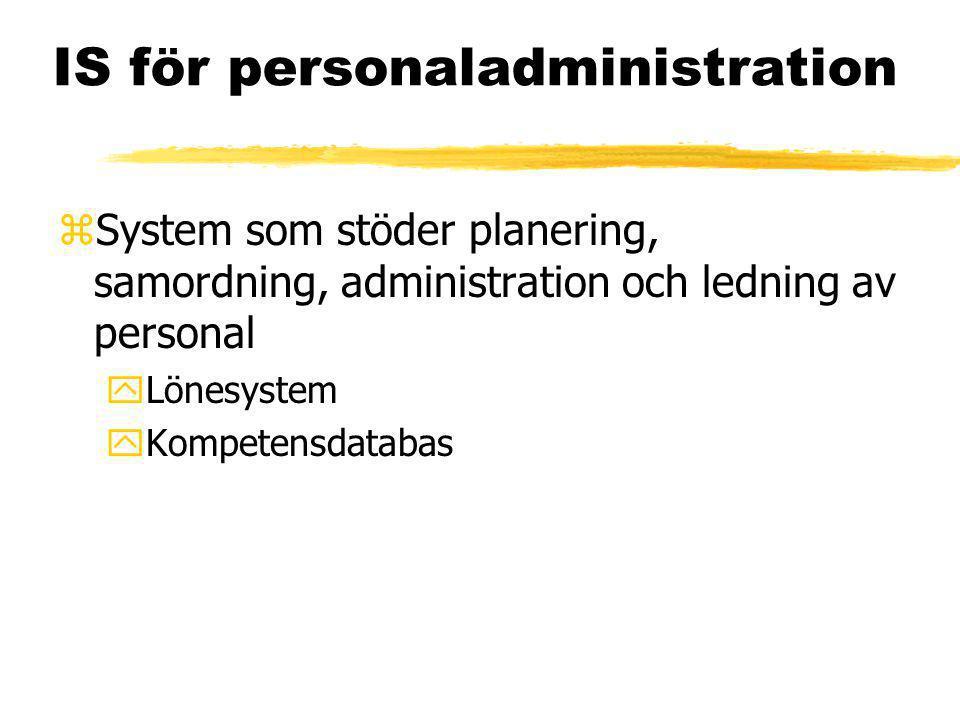 IS för personaladministration zSystem som stöder planering, samordning, administration och ledning av personal yLönesystem yKompetensdatabas