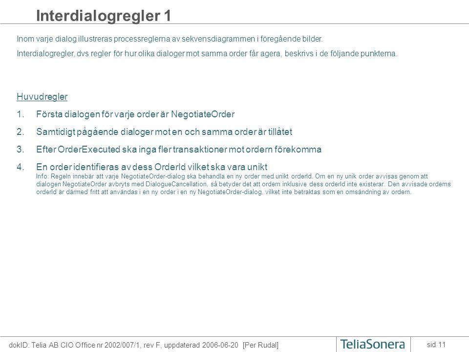 dokID: Telia AB CIO Office nr 2002/007/1, rev F, uppdaterad 2006-06-20 [Per Rudal] sid 11 Interdialogregler 1 Inom varje dialog illustreras processreglerna av sekvensdiagrammen i föregående bilder.
