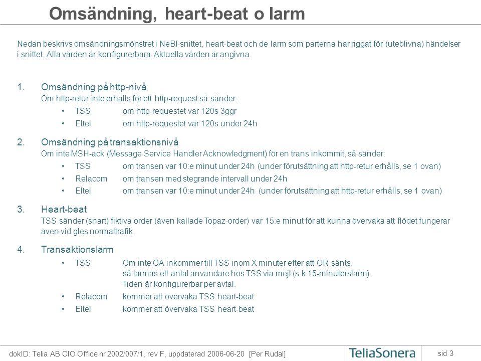 dokID: Telia AB CIO Office nr 2002/007/1, rev F, uppdaterad 2006-06-20 [Per Rudal] sid 3 Omsändning, heart-beat o larm 1.Omsändning på http-nivå Om http-retur inte erhålls för ett http-request så sänder: •TSSom http-requestet var 120s 3ggr •Eltelom http-requestet var 120s under 24h 2.Omsändning på transaktionsnivå Om inte MSH-ack (Message Service Handler Acknowledgment) för en trans inkommit, så sänder: •TSSom transen var 10:e minut under 24h(under förutsättning att http-retur erhålls, se 1 ovan) •Relacomom transen med stegrande intervall under 24h •Eltelom transen var 10:e minut under 24h (under förutsättning att http-retur erhålls, se 1 ovan) 3.Heart-beat TSS sänder (snart) fiktiva order (även kallade Topaz-order) var 15:e minut för att kunna övervaka att flödet fungerar även vid gles normaltrafik.