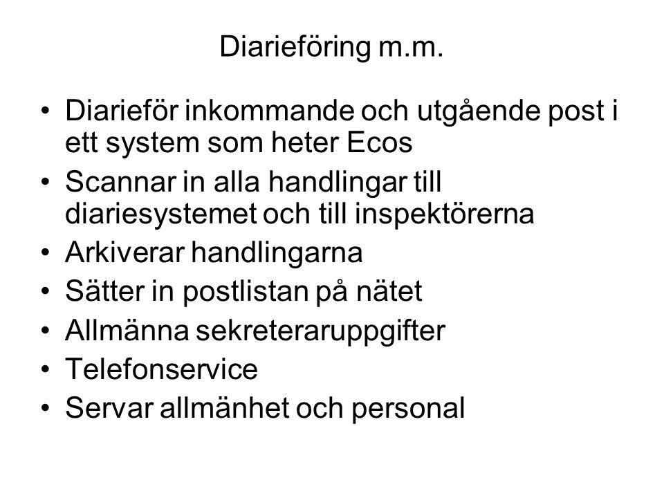 Diarieföring m.m.