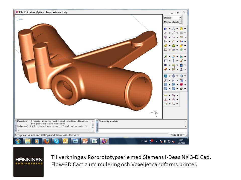 Tillverkning av Rörprototypserie med Siemens I-Deas NX 3-D Cad, Flow-3D Cast gjutsimulering och Voxeljet sandforms printer.