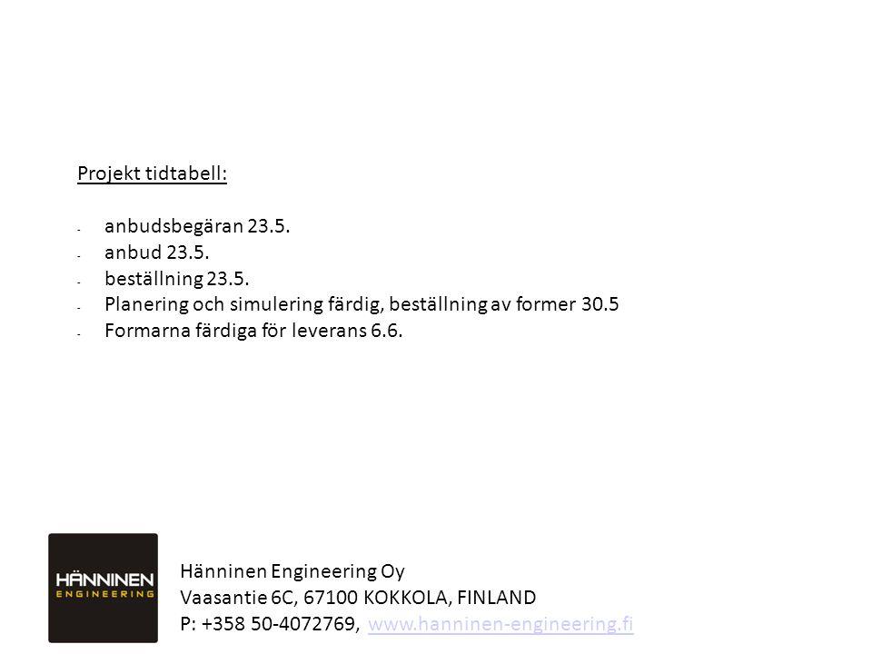 Hänninen Engineering Oy Vaasantie 6C, 67100 KOKKOLA, FINLAND P: +358 50-4072769, www.hanninen-engineering.fiwww.hanninen-engineering.fi Projekt tidtabell: - anbudsbegäran 23.5.