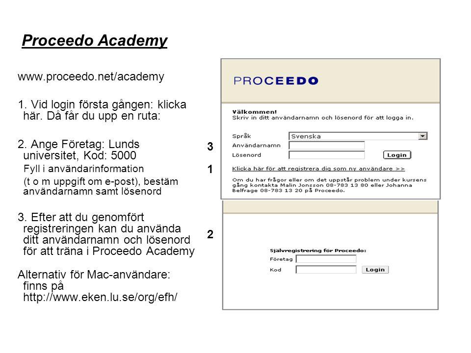 Proceedo Academy www.proceedo.net/academy 1. Vid login första gången: klicka här.