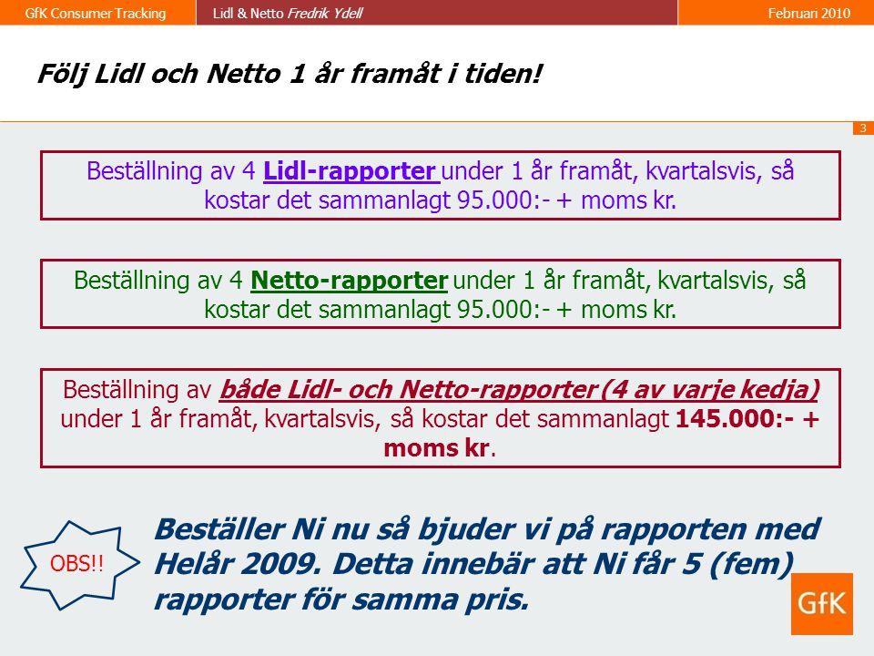 3 GfK Consumer TrackingLidl & Netto Fredrik Ydell Februari 2010 Följ Lidl och Netto 1 år framåt i tiden! Beställning av 4 Lidl-rapporter under 1 år fr