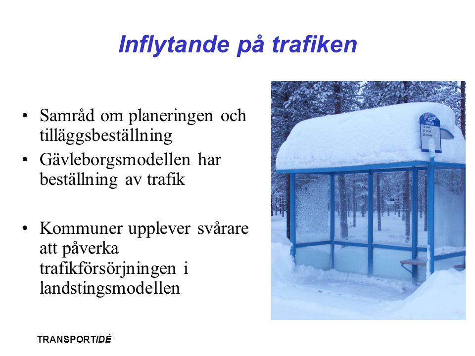 TRANSPORTIDÉ Inflytande på trafiken •Samråd om planeringen och tilläggsbeställning •Gävleborgsmodellen har beställning av trafik •Kommuner upplever sv