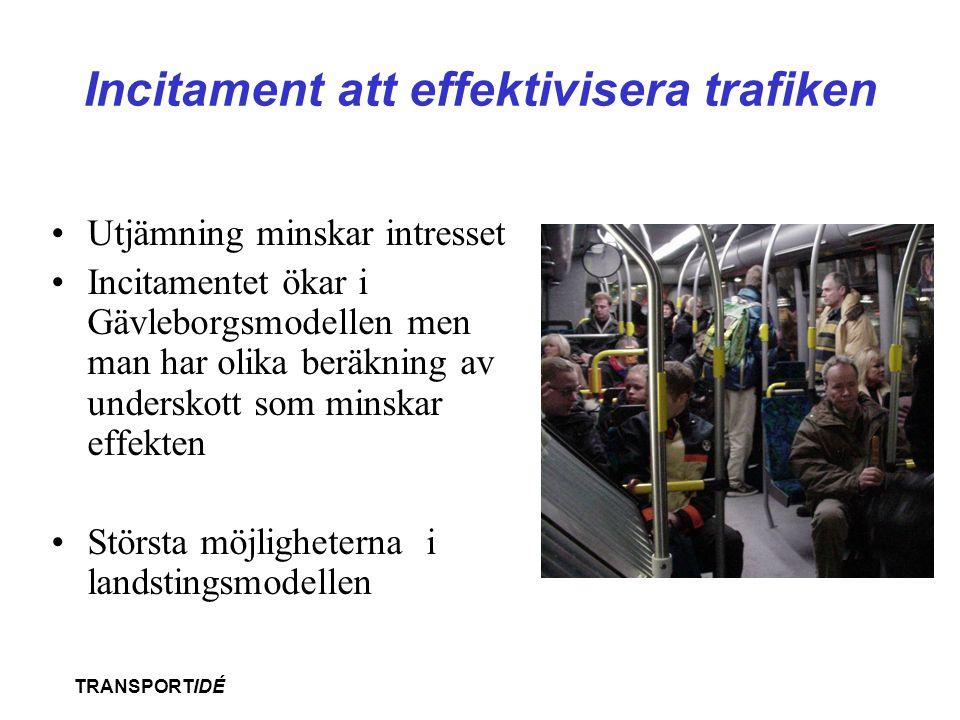 TRANSPORTIDÉ Incitament att effektivisera trafiken •Utjämning minskar intresset •Incitamentet ökar i Gävleborgsmodellen men man har olika beräkning av