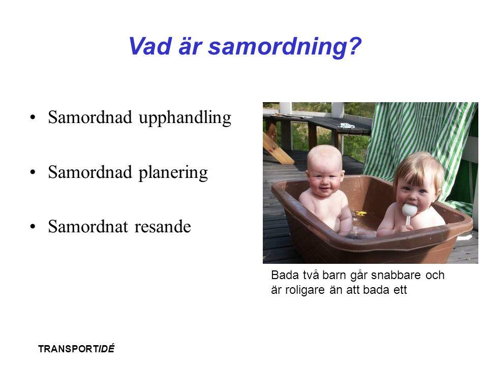 TRANSPORTIDÉ Vad är samordning? •Samordnad upphandling •Samordnad planering •Samordnat resande Bada två barn går snabbare och är roligare än att bada