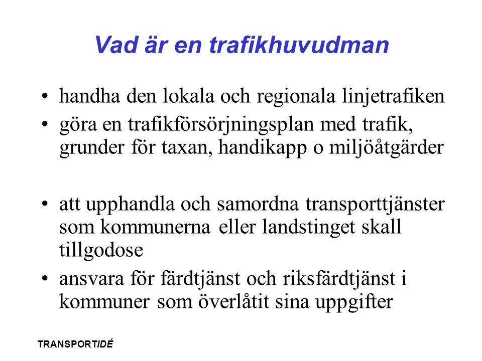 TRANSPORTIDÉ Vad är en trafikhuvudman •handha den lokala och regionala linjetrafiken •göra en trafikförsörjningsplan med trafik, grunder för taxan, ha