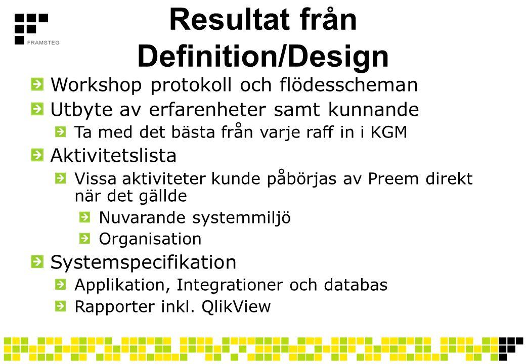 Resultat från Definition/Design Workshop protokoll och flödesscheman Utbyte av erfarenheter samt kunnande Ta med det bästa från varje raff in i KGM Ak