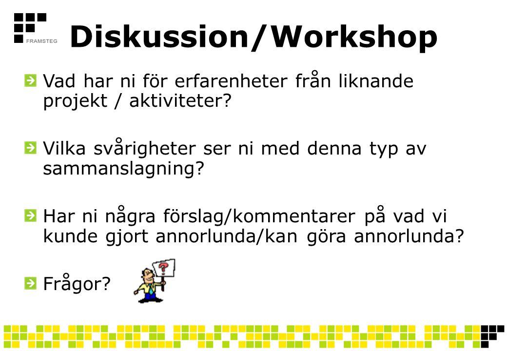 Diskussion/Workshop Vad har ni för erfarenheter från liknande projekt / aktiviteter? Vilka svårigheter ser ni med denna typ av sammanslagning? Har ni