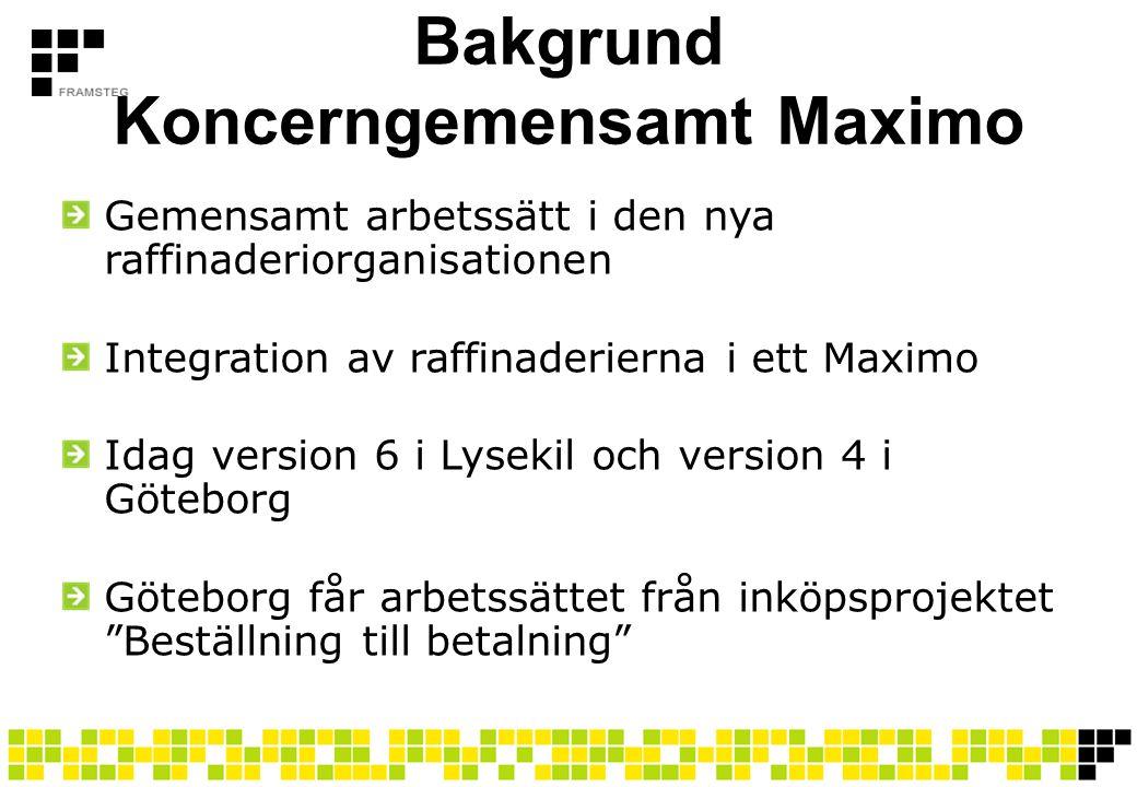 Bakgrund Koncerngemensamt Maximo Gemensamt arbetssätt i den nya raffinaderiorganisationen Integration av raffinaderierna i ett Maximo Idag version 6 i