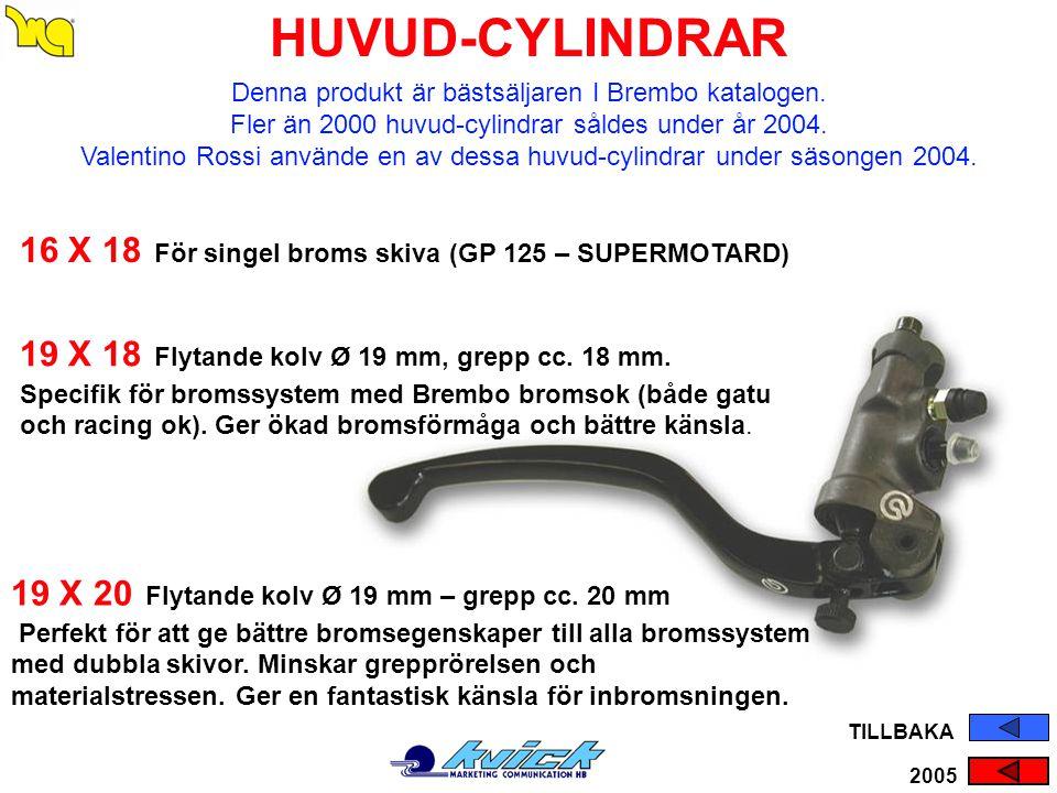 HUVUD-CYLINDRAR 16 X 18 För singel broms skiva (GP 125 – SUPERMOTARD) 2005 19 X 20 Flytande kolv Ø 19 mm – grepp cc. 20 mm Perfekt för att ge bättre b