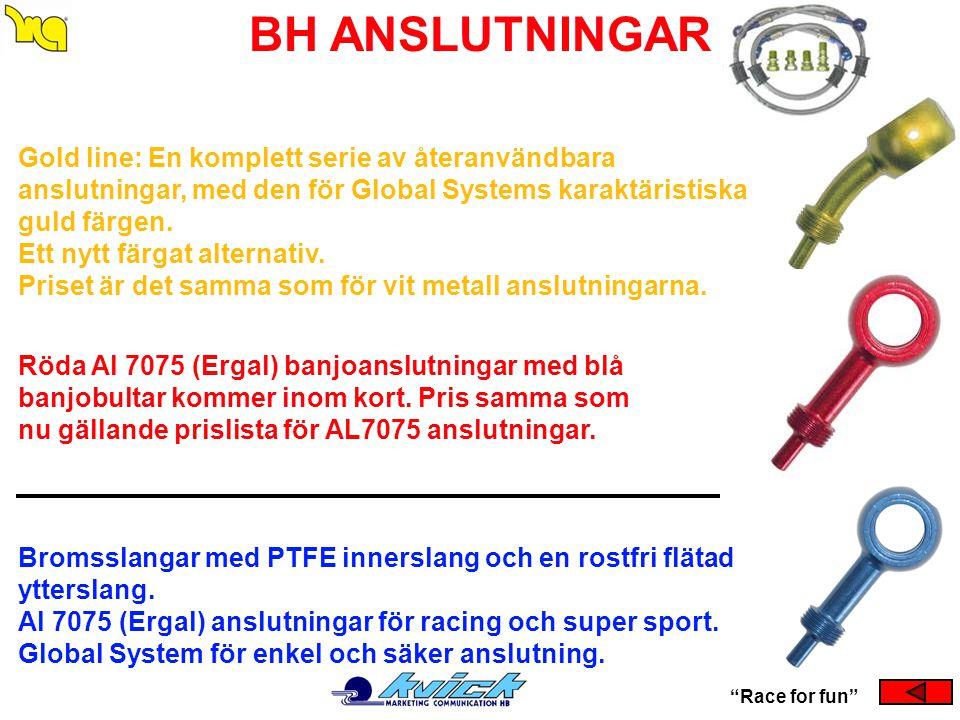 """BH ANSLUTNINGAR """"Race for fun"""" Bromsslangar med PTFE innerslang och en rostfri flätad ytterslang. Al 7075 (Ergal) anslutningar för racing och super sp"""