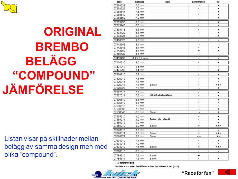 """ORIGINAL BREMBO BELÄGG """"COMPOUND"""" JÄMFÖRELSE """"Race for fun"""" Listan visar på skillnader mellan belägg av samma design men med olika """"compound""""."""