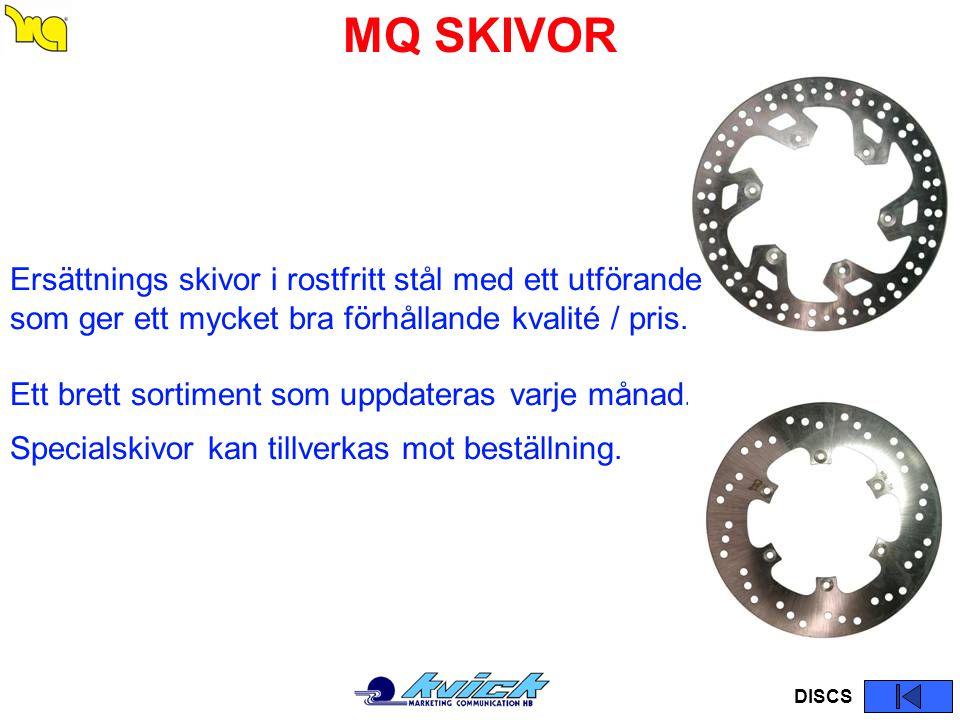 MQ SKIVOR DISCS Ersättnings skivor i rostfritt stål med ett utförande som ger ett mycket bra förhållande kvalité / pris. Ett brett sortiment som uppda