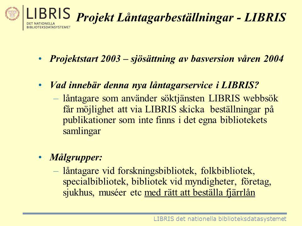 Projekt Låntagarbeställningar •Rutinen steg för steg –aktuell bok/tidskrift sökes fram i LIBRIS webbsök –vid träff sker inloggning till beställningsdelen i LIBRIS fjärrlån –vid första inloggningstillfället öppnar låntagaren ett särskilt låntagarkonto och registrerar namn och adressuppgifter, faktura- och e-postadress mm samt bibliotekstillhörighet LIBRIS det nationella biblioteksdatasystemet