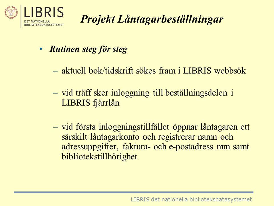 Projekt Låntagarbeställningar •beställningarna går via det egna bibliotekets fjärrlåneenhet för kontroll •finns publikationen i de egna samlingarna.