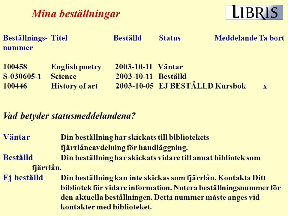 Bibliografisk information från LIBRIS webbsök Denna titel finns i följande bibliotek: A S T ------------------------------------------------------------------------- Låntagare:Negativa svar: Nils Persson lånekortsnr Fjärrlånas ej eftersom + övrig låntagarinfo arbetet finns i annat Stockholmsbibliotek Fjärrlån senast: Fjärrlånas ej - Kursbok 2003-06-05 alt.