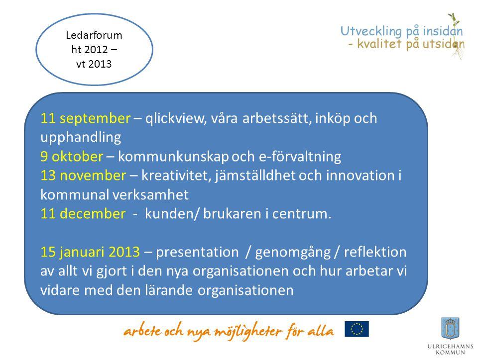 11 september – qlickview, våra arbetssätt, inköp och upphandling 9 oktober – kommunkunskap och e-förvaltning 13 november – kreativitet, jämställdhet o
