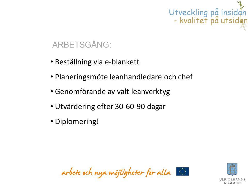• Beställning via e-blankett • Planeringsmöte leanhandledare och chef • Genomförande av valt leanverktyg • Utvärdering efter 30-60-90 dagar • Diplomer