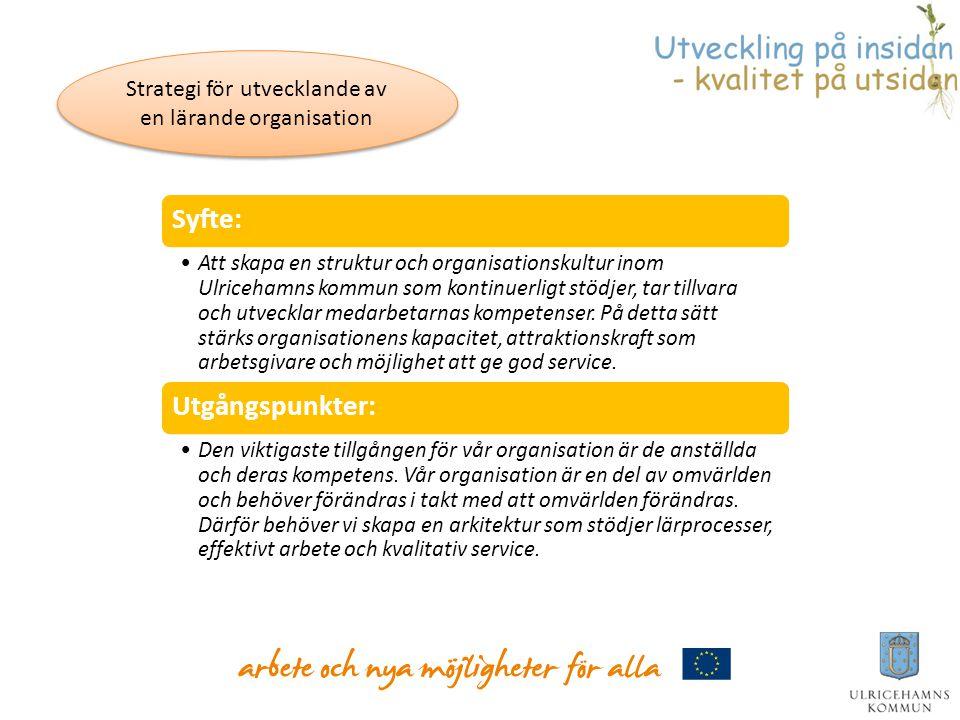 Syfte: •Att skapa en struktur och organisationskultur inom Ulricehamns kommun som kontinuerligt stödjer, tar tillvara och utvecklar medarbetarnas komp