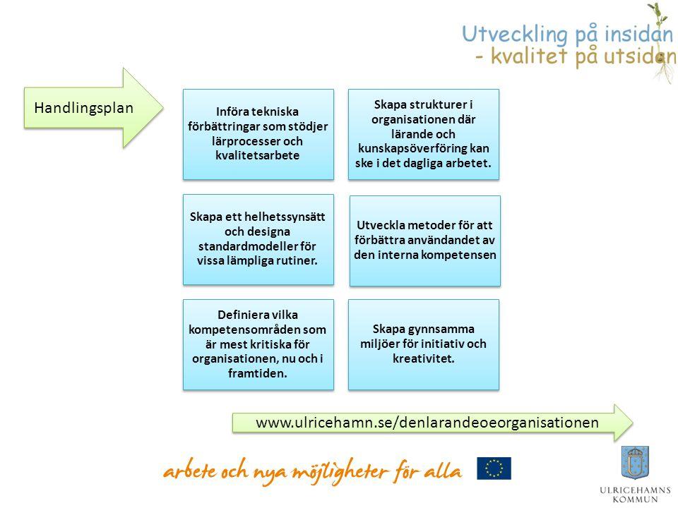 Införa tekniska förbättringar som stödjer lärprocesser och kvalitetsarbete Skapa strukturer i organisationen där lärande och kunskapsöverföring kan sk