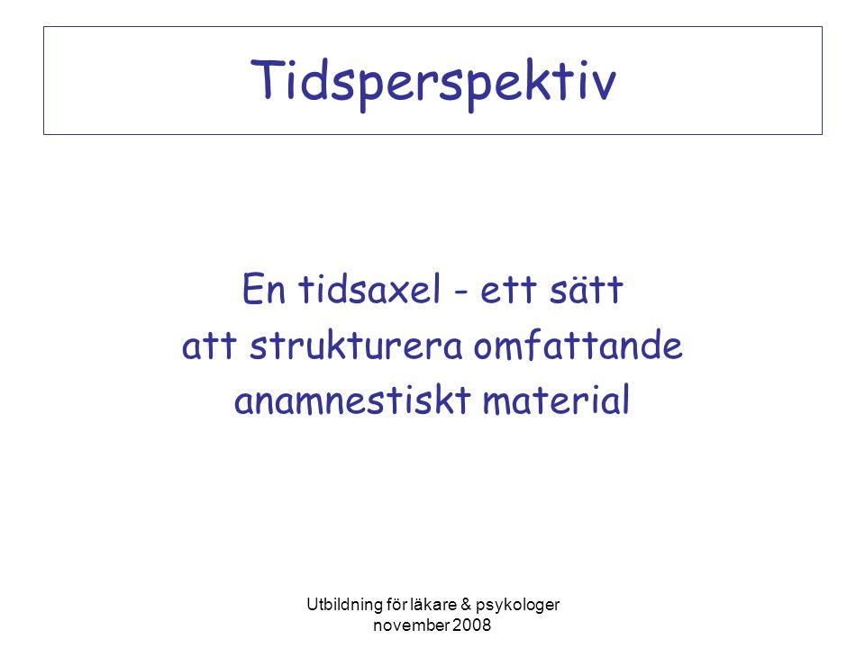 Utbildning för läkare & psykologer november 2008 Tidsperspektiv En tidsaxel - ett sätt att strukturera omfattande anamnestiskt material